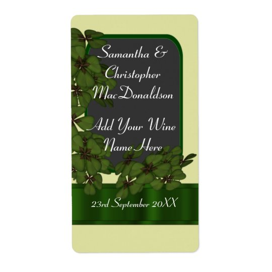 Irish green shamrock wedding wine bottle shipping label