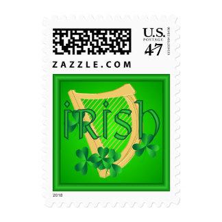 Irish Harp & Shamrock Stamp