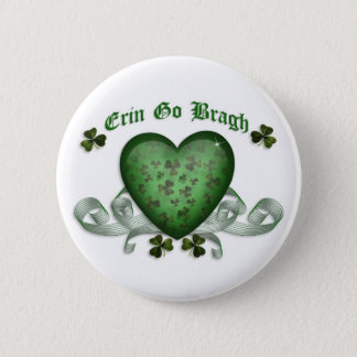 Irish heart Erin Go Bragh green heart 2 Inch Round Button