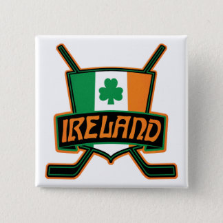Irish Ice Hockey Flag Logo Badge 2 Inch Square Button