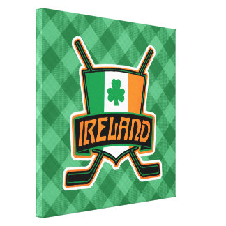 Irish Ice Hockey Flag Logo Canvas Print