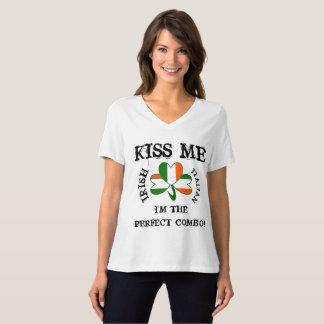 IRISH ITALIAN flag SHIRT VNECK KISS ME!