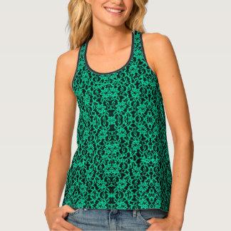 Irish Kelly Green Lace Print Tank Top