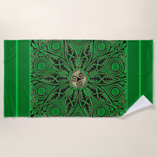 Irish Kelly Green Triskele Mandala Beach Towel
