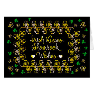 Irish kisses shamrock wishes card