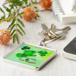 Irish Kisses St Patrick's Silver-Colored Square Keychain