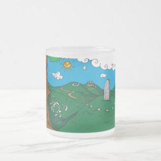 Irish landscape frosted glass coffee mug