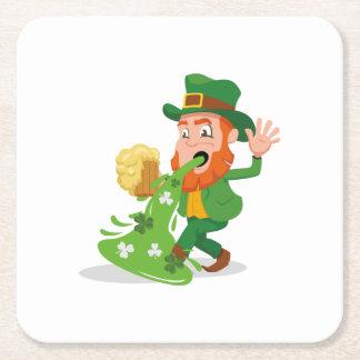 Irish Leprechaun Funny St. Patrick's Day Square Paper Coaster