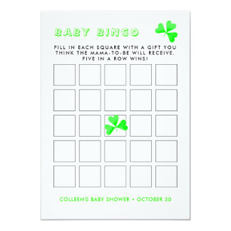 Irish Leprechaun Lucky Shamrock  Baby Bingo Card
