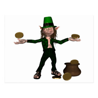 Irish Leprechaun with coins and a pot of gold Postcard