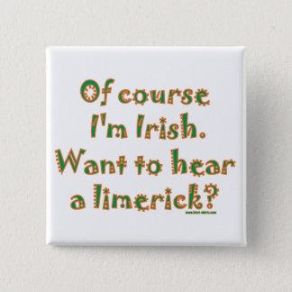 Irish Limerick 2 Inch Square Button