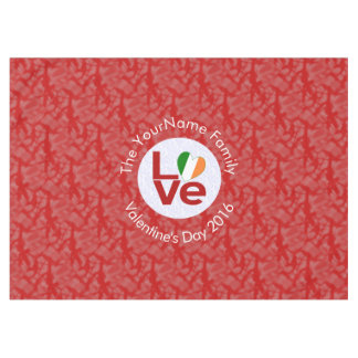 Irish LOVE Red White Circle Red Background Tablecloth