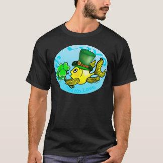 IRISH LUCK GOLDFISH wearing hat and shamrocks cute T-Shirt