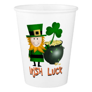 IRISH LUCK, ST PATRICKS LEPRECHAUM PAPER PLATE PAPER CUP