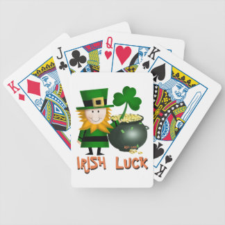 IRISH LUCK, ST PATRICKS LEPRECHAUM SHAMROCK BICYCLE PLAYING CARDS