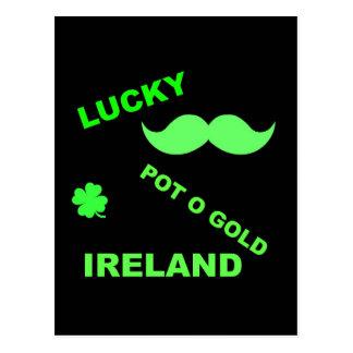 Irish Lucky Pot o Gold Quotes Postcard