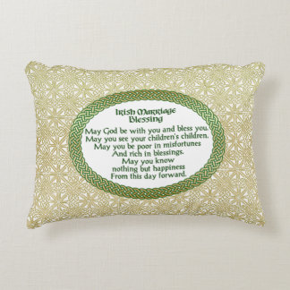 Irish Marriage Blessing, Gold & Green Wedding Decorative Pillow