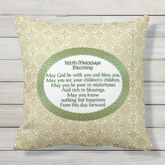 Irish Marriage Blessing, Gold & Green Wedding Outdoor Pillow