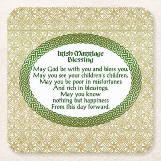 Irish Marriage Blessing, Gold & Green Wedding Square Paper Coaster