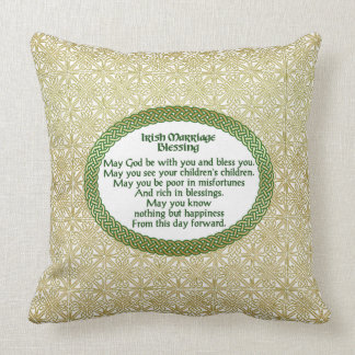Irish Marriage Blessing, Gold & Green Wedding Throw Pillow