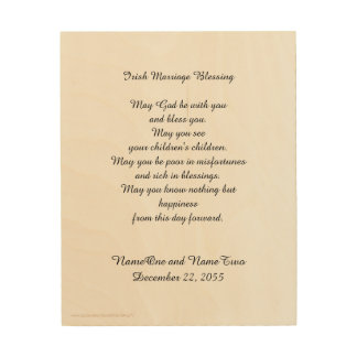 Irish Marriage Blessing Personalized Wood Wall Art