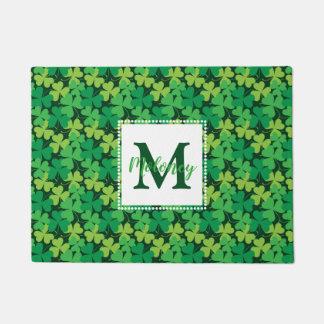 Irish Monogram Shamrocks Doormat