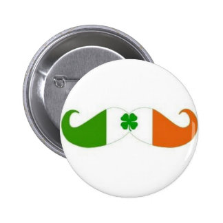 Irish moustache badge 2 inch round button