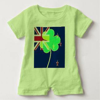 Irish New Zealand Flag Shamrock Clover St. Patrick Baby Romper