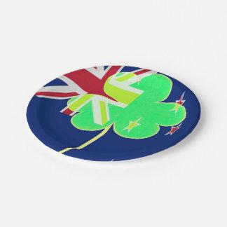 Irish New Zealand Flag Shamrock Clover St. Patrick Paper Plate