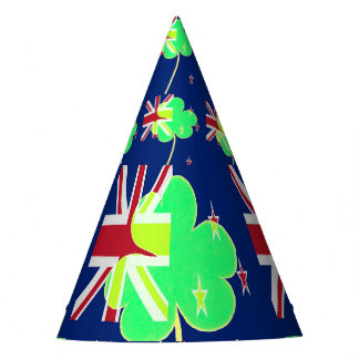 Irish New Zealand Flag Shamrock Clover St. Patrick Party Hat