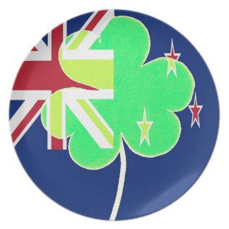 Irish New Zealand Flag Shamrock Clover St. Patrick Plate