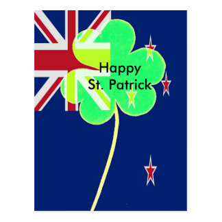 Irish New Zealand Flag Shamrock Clover St. Patrick Postcard