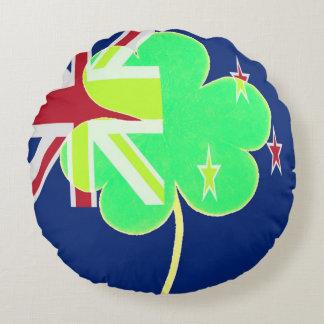 Irish New Zealand Flag Shamrock Clover St. Patrick Round Pillow