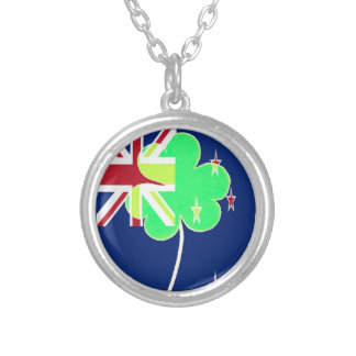 Irish New Zealand Flag Shamrock Clover St. Patrick Silver Plated Necklace