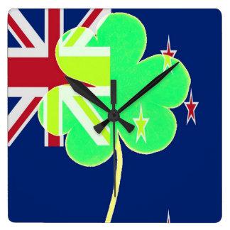 Irish New Zealand Flag Shamrock Clover St. Patrick Square Wall Clock
