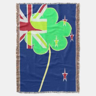 Irish New Zealand Flag Shamrock Clover St. Patrick Throw Blanket