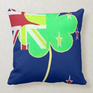 Irish New Zealand Flag Shamrock Clover St. Patrick Throw Pillow