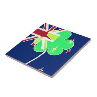Irish New Zealand Flag Shamrock Clover St. Patrick Tile