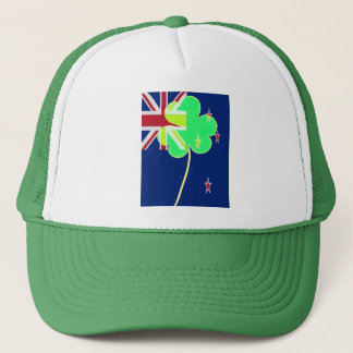 Irish New Zealand Flag Shamrock Clover St. Patrick Trucker Hat