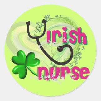 Irish Nurse Artsy Heart Gifts Round Sticker