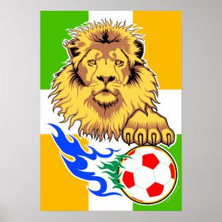 Irish or Côte d'Ivoire Soccer Lion Poster