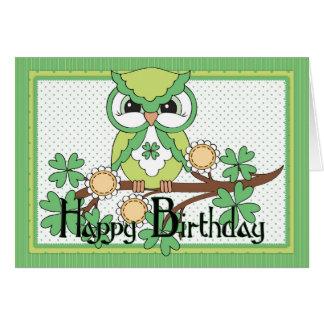 Irish Owl Happy Birthday Greeting Card