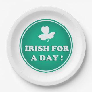 IRISH PAPER PLATE, IRISH FOR A DAY, ST PATRICKS PAPER PLATE