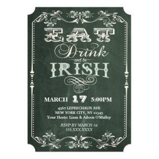 Irish Party Eat Drink and be Irish Chalkboard Card