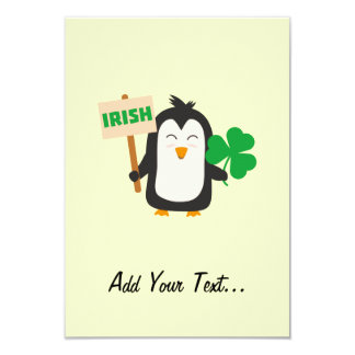 Irish Penguin with shamrock Zjib4 Card