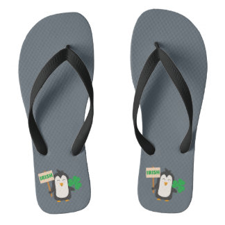 Irish Penguin with shamrock Zjib4 Flip Flops