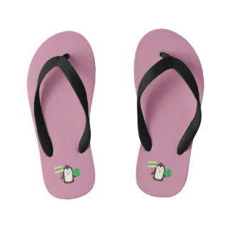 Irish Penguin with shamrock Zjib4 Kid's Flip Flops