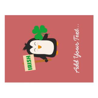 Irish Penguin with shamrock Zjib4 Postcard
