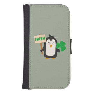 Irish Penguin with shamrock Zjib4 Samsung S4 Wallet Case