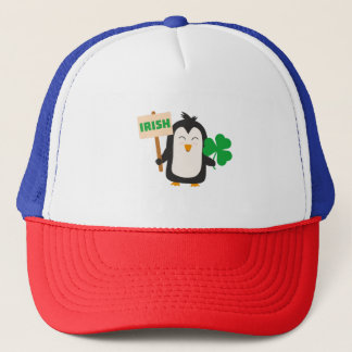 Irish Penguin with shamrock Zjib4 Trucker Hat
